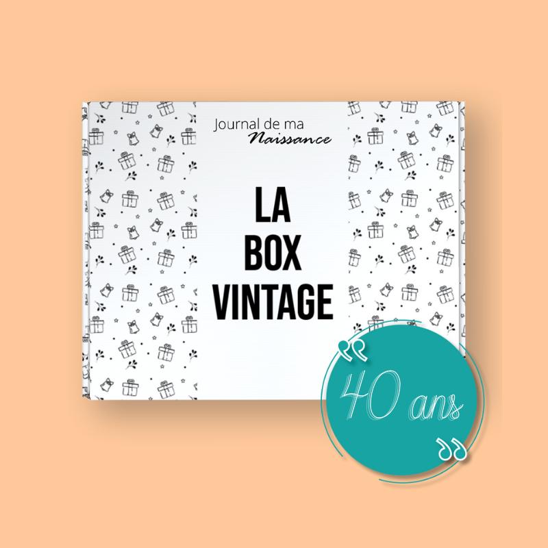 BOX VINTAGE 1981, box vintage anniversaire cadeau packaging 40 ans