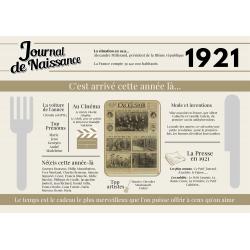Set de table anniversaire de l'année 1921, cadeau original set de table