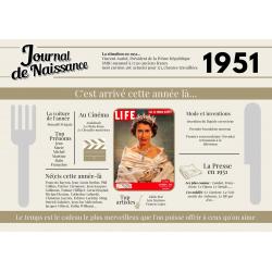 Set de table anniversaire de l'année 1951, cadeau original set de table