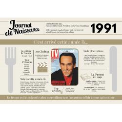 Set de table anniversaire de l'année 1991