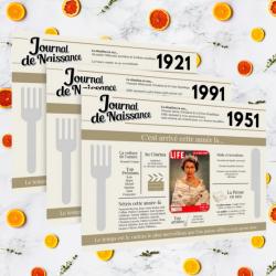 lot de sets de table personnalisés à l'année de naissance