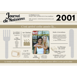 Set de table anniversaire de l'année 2001, set de table 20 ans